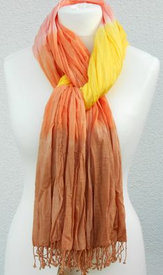Autumn Glory Cotton Scarf hand dyed in yellow by Schalrausch