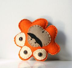Stuffed Monster Plush, Plush Felt Monster, Alien Plush, Cute Plush, Felt Stuffed Monster, Orange