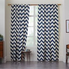 Cotton Canvas Zigzag Curtain - Blue Lagoon #westelm