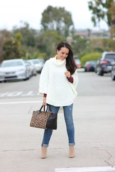 Forever 21 Cable Knit Poncho and Clare V Sandrine Satchel  // Click on the following link to see more photos and outfit details:   http://www.stylishpetite.com/2014/11/forever-21-cable-knit-poncho-and-clare.html