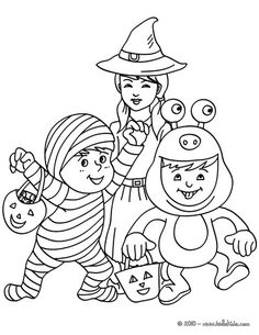 Mummy, Monster and Witch coloring page