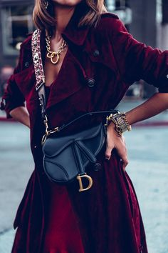 In the Trenches - Dior Jewelry - Ideas of Dior Jewelry - Definitely my favorite bag at the moment Dior saddle bag with a burgundy strap; wore it with a burgundy trench coat and gold jewelry to add a little something extra to the look Rock Chic, Suede Trench Coat, Trench Coats, Cristian Dior, Dior Saddle Bag, Viva Luxury, Fashion Outfits, Womens Fashion, Fashion Trends