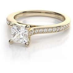 .24ctw Cathedral Princess Cut Diamond Petite Engagement Ring in 18k... ($899) ❤ liked on Polyvore featuring jewelry, rings, engagement rings, diamond rings, 18k yellow gold ring, diamond engagement rings and princess cut ring