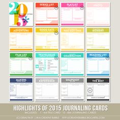 Image of Highlights of 2015 Journaling Cards (Digital) $8 - What a great idea.