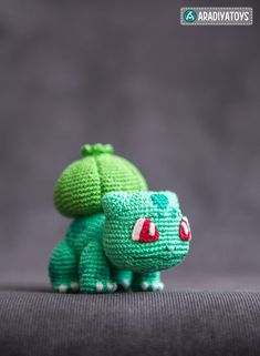 """The second toy from my """"Pokemon"""" collection is Bulbasaur! I was working on it since the release of Pokeball! And the pattern is finally here! Bulbasaur from 'Pokemon', crochet pattern Pokemon Crochet Pattern, Crochet Patterns Amigurumi, Crochet Dolls, Tutorial Amigurumi, Crochet Mignon, Cute Crochet, Crochet Animals, Stuffed Toys Patterns, Crochet Projects"""