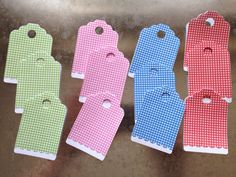 Pretty gingham and scalloped tags for sale as a pack of Love Your Home, Gingham, Baby Gifts, Skateboard, Posts, Babies, Tags, Pretty, Skateboarding