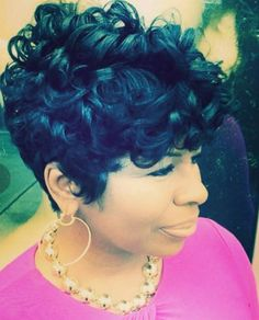 Photo by Najah Aziz on November Short Black Hairstyles, Short Hair Cuts, Cool Hairstyles, Perm Hairstyles, Pixie Cuts, Short Pixie, Love Hair, Gorgeous Hair, Beautiful