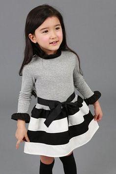 Cute Long Sleeve Ruffled Neck Striped Dress For Girls