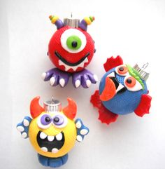 Ornaments Little Monsters handmade glass polymer clay christmas ornaments ( 3 ) by digitsdesigns on Etsy https://www.etsy.com/listing/119883200/ornaments-little-monsters-handmade-glass