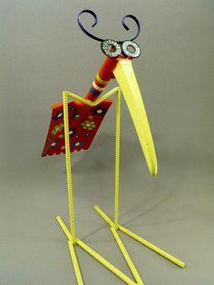 Folk Art Yard Art Found Object Shovel Bird by OurUniquePerspective