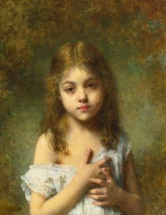 Childhood by Alexei Alexeivich Harlamoff, Oil on Canvas
