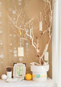 Winter Wishing Tree. Strategically display wish cards on select branches.