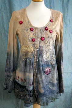 Rosebuds  -unique romantic blouse or jacket, wearable ar, textile collage with antique lace, sequins, beading, altered