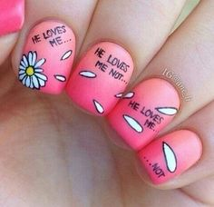 Image via We Heart It https://weheartit.com/entry/123273507/via/15521626 #art #cute #daisies #daisy #flower #helovesme #helovesmenot #love #nail #nails #petals #pink #teens
