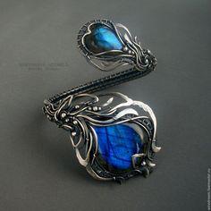 Купить серебряный браслет Синий цветок - серебряный, браслет серебро, серебряный браслет