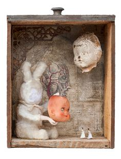 """Put Your Best Face Forward"" 2015 mixed media assemblage by Dianne Hoffman"