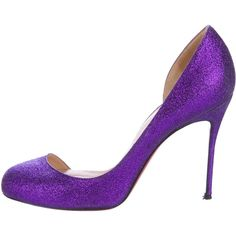 Pre-owned Christian Louboutin Glitter Helmour 100 Pumps featuring polyvore  women s fashion shoes pumps purple purple pumps round toe shoes d orsay  pumps ... 03305d49c5b2