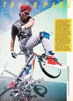 "Fred Blood 80's Freestyle BMX /Freestylin': July 1987 Issue/ General - Fred Blood Pro Bike, Fred doing a ""Backside Walkaround"" trick!"