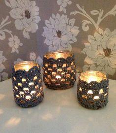 Boho Bonbon: Virkatut tuikkukupit - Crocheted tealight holders Crochet Jar Covers, Tea Light Holder, Tea Lights, Candle Holders, Candles, Xmas, Candy, Tealight Candle Holders, Tea Light Candles