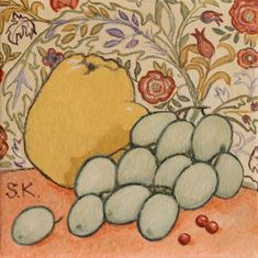 Mussini oil paints on linen canvas painting with Yellow Quince and Green Grapes on a William Morris Wallpaper with a Sweet Briar and Coral Table. #svetlanakurmazart #modernart #prague #narrativeart #figurative #womanartist #svetlana_kurmaz #designinterior #designyourhome #designyourlife #art #modern #lifestyle #svetlanakurmaz #светланакурмаз #pears #wallpaper #william_morris William Morris Wallpaper, Morris Wallpapers, Oil Painting On Canvas, Canvas Art, Original Paintings, Original Art, Local Color, Color Tag, Design Your Life