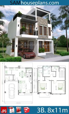 House Plans with 3 Bedrooms - Sam House Plans - House Living 3 Storey House Design, Two Story House Design, Duplex House Design, Duplex House Plans, Simple House Design, House Front Design, Minimalist House Design, Dream House Plans, Two Storey House Plans