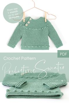 Prehistoric Sweater and Bodice Pattern PDF Crochet Pattern to make this beautiful and practical Crochet Sweater or Bodice. In this pattern you will find the directions to make the crochet bodice for a dress. Crochet Baby Sweaters, Crochet Baby Cardigan, Baby Girl Crochet, Crochet Baby Clothes, Knit Crochet, Crochet Stitches, Knit Dress, Crochet Lovey, Dress Sewing