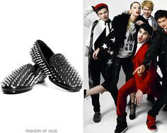 Chris Colfer and the Glee cast pose for Fashion's Night Out, August 15, 2011    The Real Look: Christian Louboutin loafers