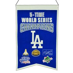 MLB Baseball Los Angeles Dodgers 14x22 Heavy Wool with Embroidery Sport Team Logo 5 Time World Series Champions Banner #2014 -- Awesome products selected by Anna Churchill