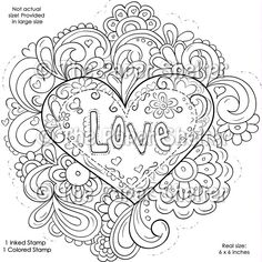 Advanced Coloring Pages for Adults | Fancy Psychedelic Love - Digital Stamp The Paper Shelter, digital ...