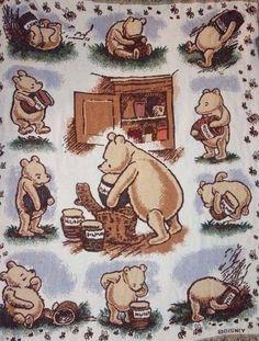 "Classic Winnie The Pooh Afghan Throw Blanket Tapestry 100% Cotton USA 54"" x 44"" #GoodwinWeavers #Cartoon"