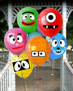 Yo gabba inspired printable balloon faces digital file diy piy