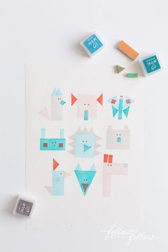 geometric stamps - fun art activity for kids to make patterns, animal faces, and more