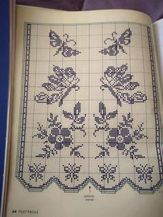 Knitting Paterns, Crochet Patterns, Filet Crochet Charts, Crochet Curtains, Chrochet, Table Runners, Diy And Crafts, Cross Stitch, Butterfly