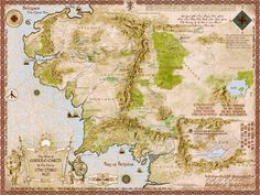 Map of Middle Earth Lord Of The Rings In Colour 32X24 Poster