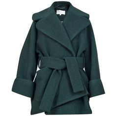 Carven Oversized Green Coat (695 CAD) ❤ liked on Polyvore featuring outerwear, coats, jackets, green coat, wool coat, blue double breasted coat, oversized wool coat and blue waist belt