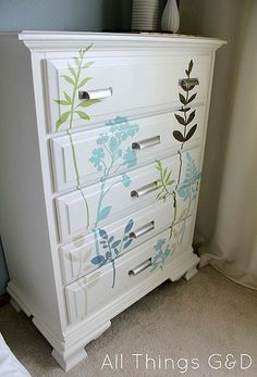 DIY Decal Dresser, this was on another site. Beautiful!!