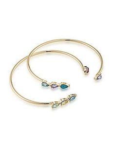 ABS by Allen Schwartz Jewelry Color Binge Two-Piece Open Crystal Cuff