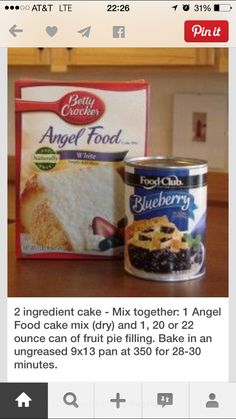 This is SOOO good and easy! 2 ingredient cake Mix together, 1 Angel Food cake mix (dry) and 20 or 22 ounce can of fruit pie filling. Bake in an ungreased pan at 350 for minutes. It will puff up. I made this with cherry pie filling. Angel Food Cake Desserts, 13 Desserts, Dessert Cake Recipes, Cake Mix Recipes, Ww Recipes, Cake Mixes, Angel Food Cake And Pie Filling Recipe, Angel Food Cake Mix, Low Calorie Desserts