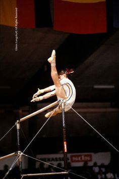 Nadia Comăneci (Romania) on uneven bars at the 1979 European Championships