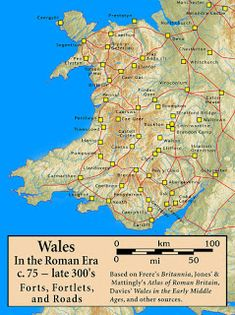 Roman Forts in Wales Map - The history of Wales in the Roman era began in 48 AD with a military invasion by the imperial governor of Roman Britain. The conquest would be completed by and Roman rule would endure until the region was abandoned in AD Map Of Britain, Roman Britain, Great Britain, History Of Wales, British History, Tudor History, European History, Wales Map, Welsh Castles