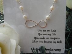 Anniversary Gift Infinity Necklace by TheButterflyGarden7 on Etsy, $40.00