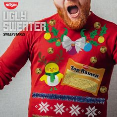 Happy Holidays! Go to our Facebook page for your chance to win this Nissin Ugly Sweater! Just tell us why you deserve it in the comments. One lucky winner gets to be the best dressed party guest this holiday.