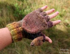 Convertible Fingerless Mittens with thumb flap, handknit, flap top mittens, fingerless gloves, flap mitts, flap gloves, for him or her by KnitographyByMumpitz, kr300.00