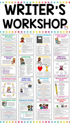 Best 12 These writers workshop anchor charts are a huge timesaver for teachers and a great reference page for students interactive writing journals! A must have for any teacher who is getting ready to launch writer's workshop in their classroom. Book Writing Tips, English Writing Skills, Writing Strategies, Narrative Writing, Writing Lessons, Writing Journals, Writing Process, Writing Rubrics, Poetry Lessons
