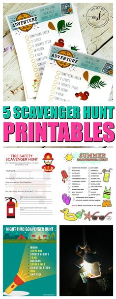 Scavenger Hunt ideas for kids, download free printable for camping scavenger hunt, nature trails, flashlight night time fun, fire safety and summer adventures, perfect for scouts or birthday parties