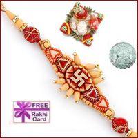 Swastik Sandalwood Rakhi with Free Silver Coin