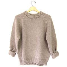 Thick Chunky 80s Sweater Oatmeal Brown Crewneck Raglan Knit Pullover... (60 CAD) ❤ liked on Polyvore featuring tops, sweaters, crew-neck sweaters, chunky knit sweater, thick sweater, sweater pullover and vintage 80s sweaters