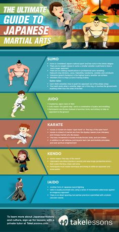Learn about sumo, judo, kendo, karate, and iaido in this infographic! Korean Martial Arts, Martial Arts Styles, Martial Arts Techniques, Martial Arts Women, Mixed Martial Arts, Martial Arts Quotes, Martial Arts Workout, Martial Arts Movies, Martial Arts Training