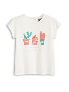T-SHIRT BIRDIE   A pretty print for a pretty girl. BIRDIE t-shirt, round  neck, cap sleeves, 2 poppers on back, gathered shoulders, print, raised  detail. 7f68ca85a473
