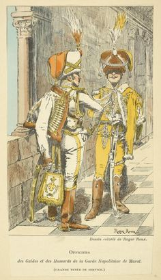 Kingdom Of Naples; Royal Guard Officers of the Guides and Hussars, in Grande Tenue  c.1811